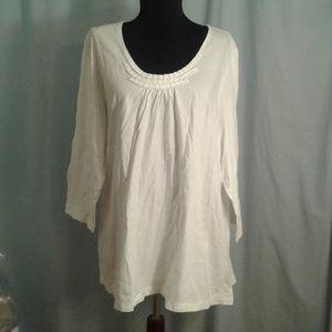 Lands End 2X 3/4 sleeve tee shirt white 20W 22W